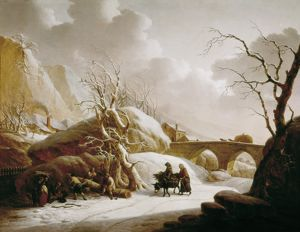 SCHEICKHARDT, Heinrich Wilheim. Winter landscape with farmers.