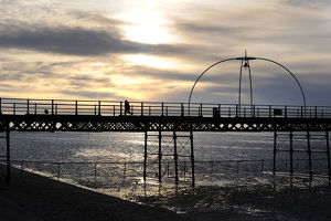 Southport Pier in the UK sunset Canvas Art Cheap Wall Print Home Interior