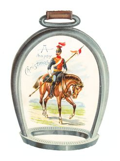 Soldier on horseback on a stirrup-shaped Christmas card