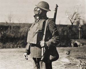 Soldier wearing gas mask, 1918