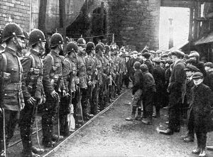 Soldiers at Brynkinalt Colliery, 1912