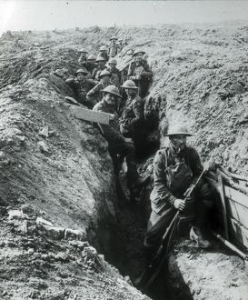 Soldiers in trench with fixed bayonets