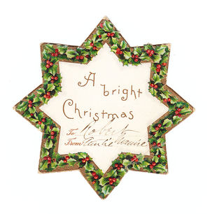 Star-shaped Christmas card with holly border