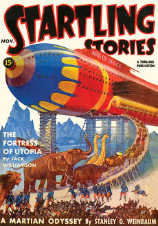 Startling Stories scifi magazine cover, THE FORTRESS OF UTOPIA