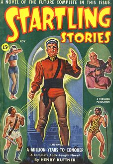 Startling Stories scifi magazine cover, Million years to conquer