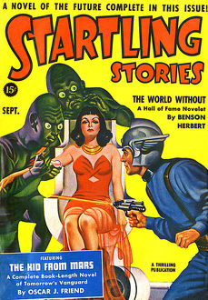 Startling Stories scifi magazine cover, alien injection