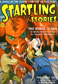 Startling Stories scifi magazine cover, dragon attack 1942