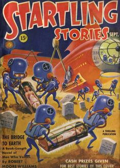 Startling Stories Scifi Magazine Cover, Aliens grave robbing