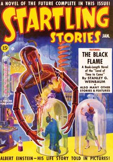 Startling Stories Scifi Magazine Cover with Science Island
