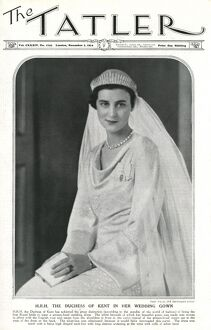 Tatler front cover of Duchess of Kent in her wedding gown