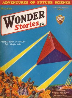 Tetrahedra of Space, Wonder Stories Scifi Magazine Cover