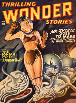 Thrilling Wonder Stories scifi magazine cover - THE IONIAN CYCLE