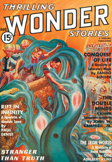 Thrilling Wonder Stories scifi magazine cover - THE DOUBLE MINDS