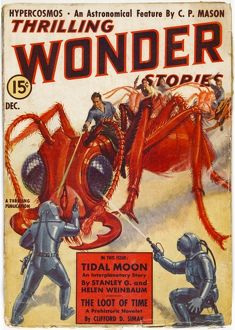 Thrilling Wonder Stories Scifi Magazine Cover, Giant Ants