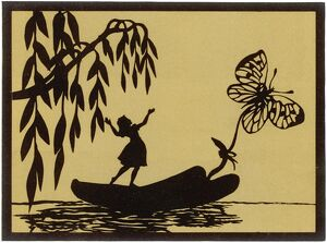 Thumbelina drawn by a butterfly down a stream