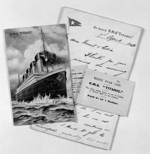Titanic postcard, letter, Turkish Bath ticket stub