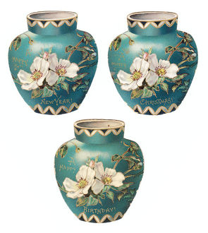 Turquoise pots with white flowers on three cutout cards