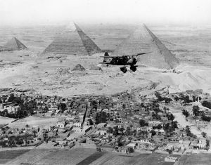 Westland Lysander over the Great pyramids