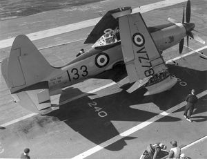 Westland Wyvern S4 VZ789 on a carrier deck with wings folded