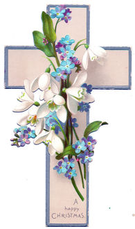 White and blue flowers on a cross-shaped Christmas card
