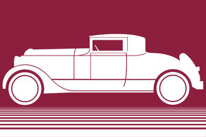 White Car on Maroon Background