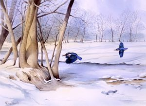Winter landscape with two kingfishers