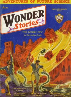 Wonder Stories Scifi Magazine Cover, The Invisible City