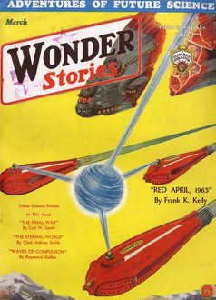 Wonder Stories Scifi Magazine Cover, Red April