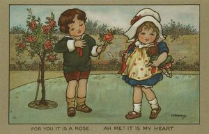 A young boy gives a rose to his love by Florence Hardy